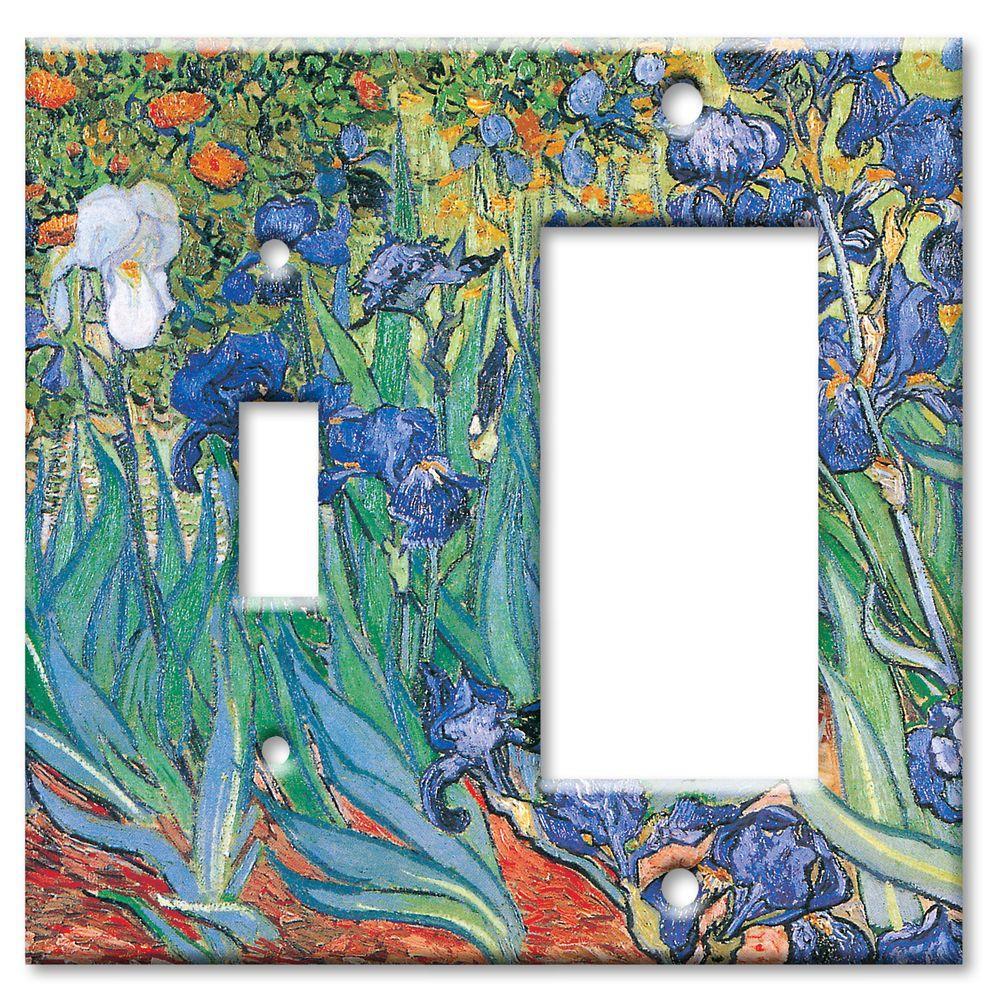 Art Plates Van Gogh Irises Switch/Rocker Combo Wall Plate