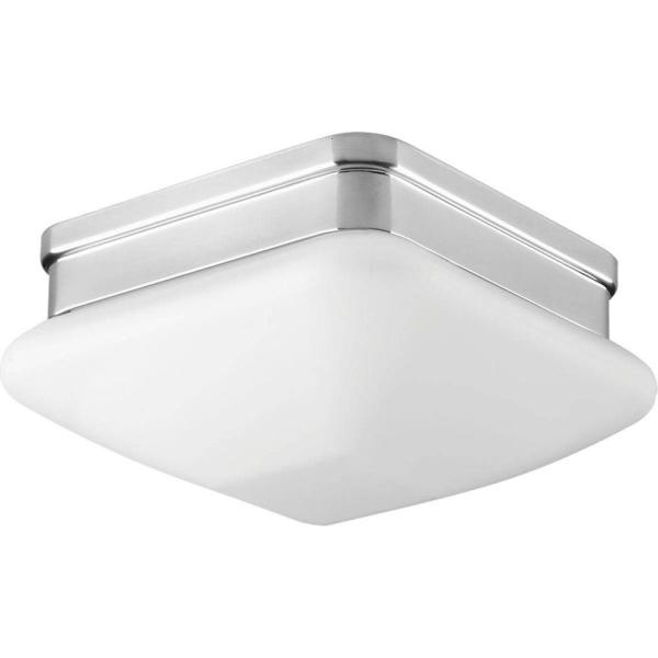 Appeal Collection 1-Light Polished Chrome Flush Mount with Square Opal Glass