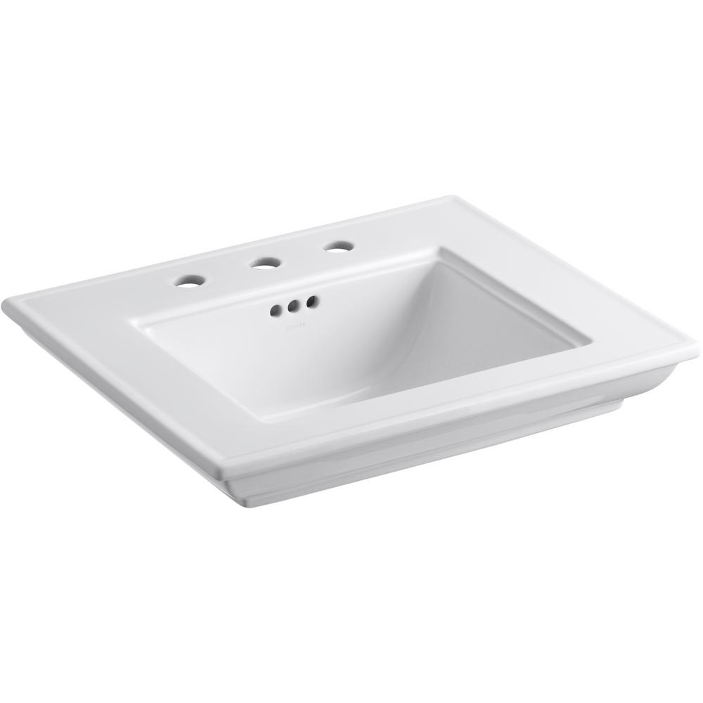 KOHLER Memoirs Stately 24.5 in. Widespread Console Table Sink Basin in White
