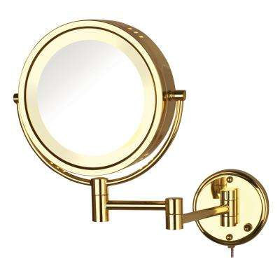 11 in. x 14 in. Lighted Wall Makeup Mirror in Gold