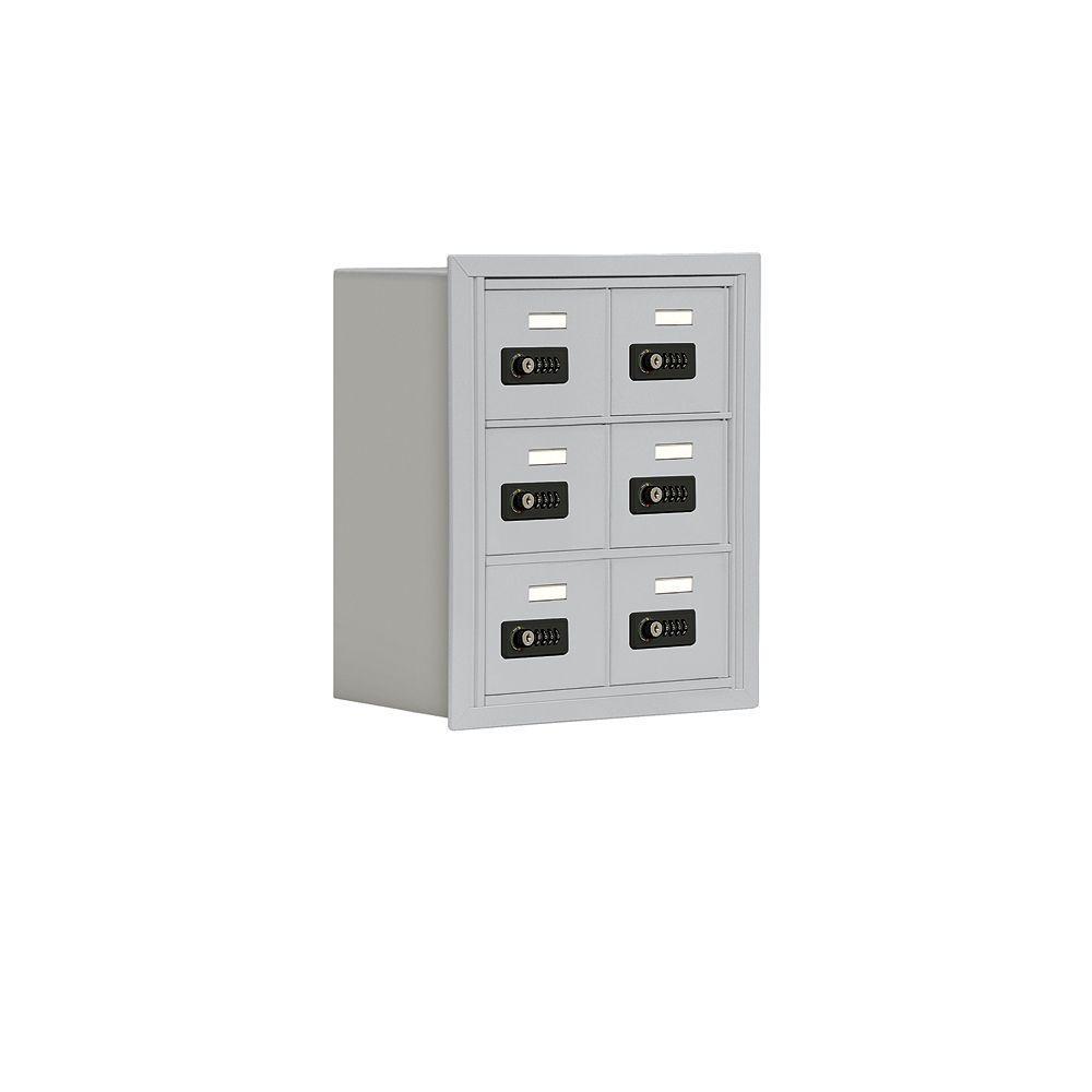 19000 Series 17.5 in. W x 20 in. H x 8.75 in. D 6 A Doors R-Mount Resettable Locks Cell Phone Locker in Aluminum