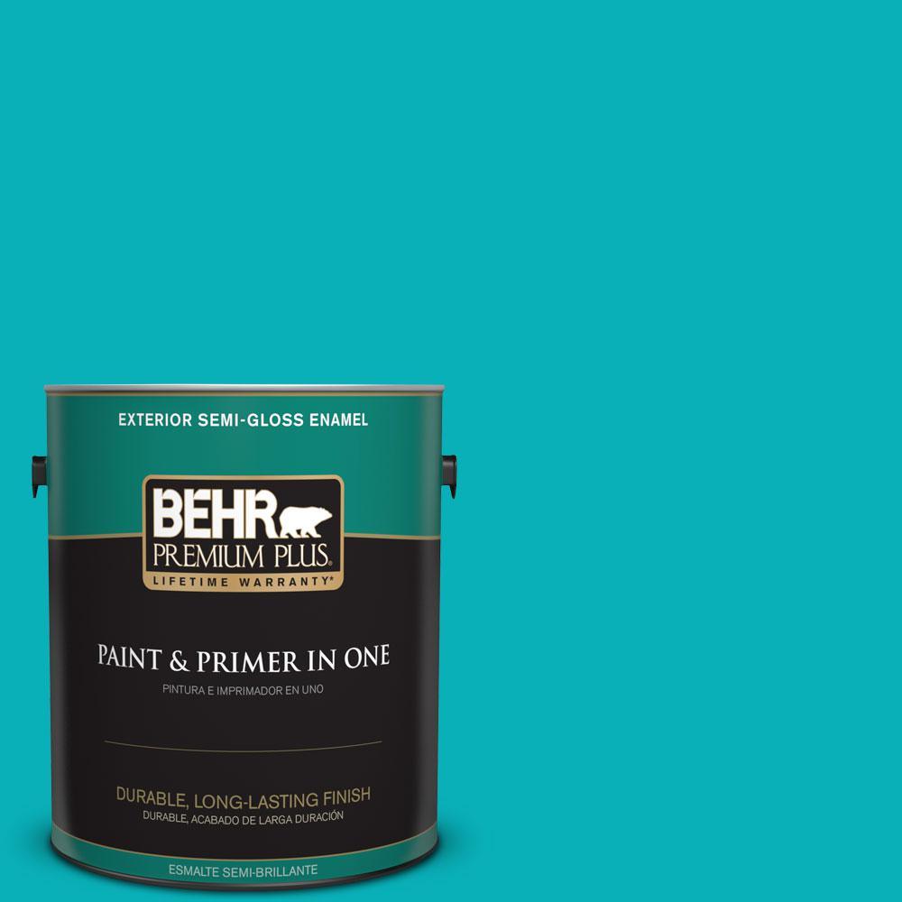 1-gal. #500B-5 Mermaid Treasure Semi-Gloss Enamel Exterior Paint