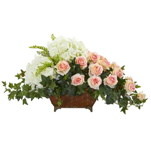 Nearly Natural Indoor Hydrangea and Rose Artificial Arrangement in Metal Planter
