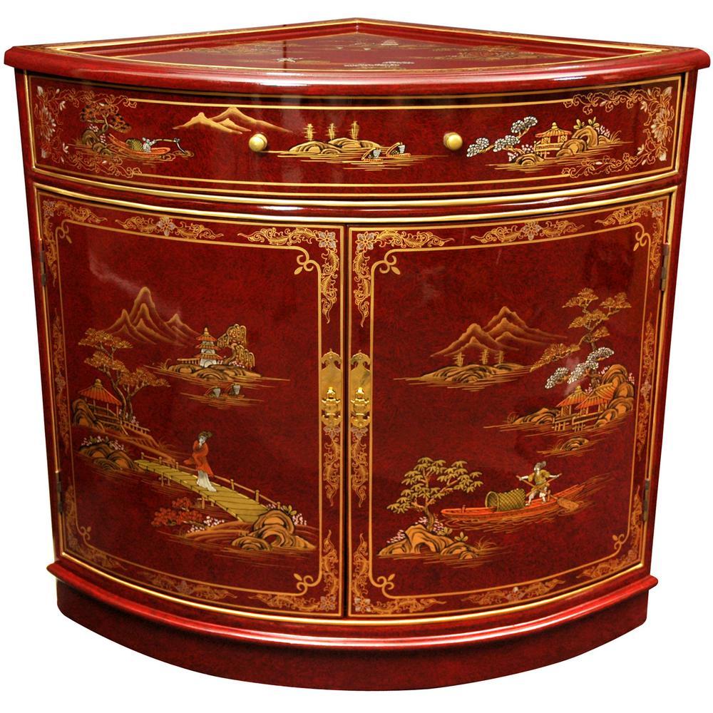 Oriental Furniture Red Lacquer Corner Cabinet