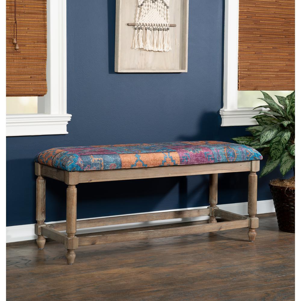Linon Kristin Jewel and Blue Kilim Print Bench