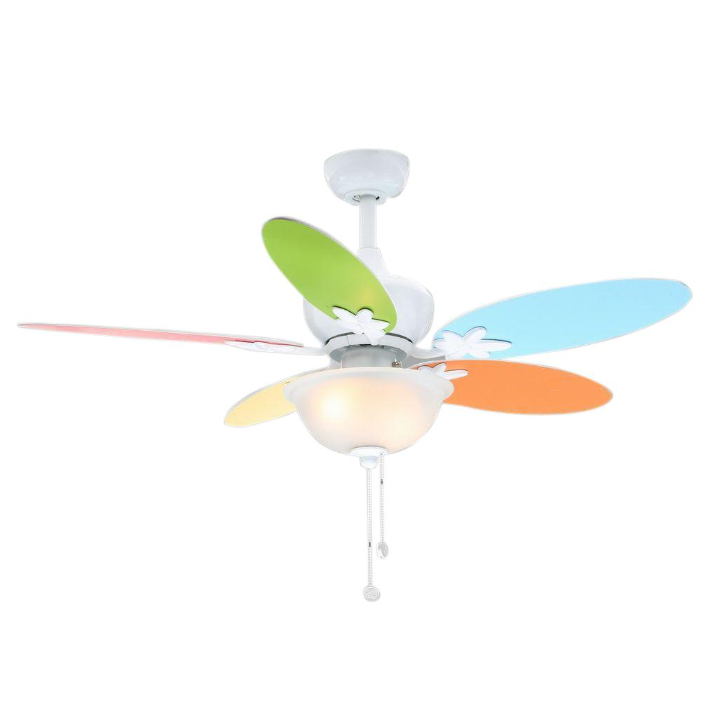 Cute Girl Teen Flower Petal Colorful White Color Reversible Blades Ceiling Fan