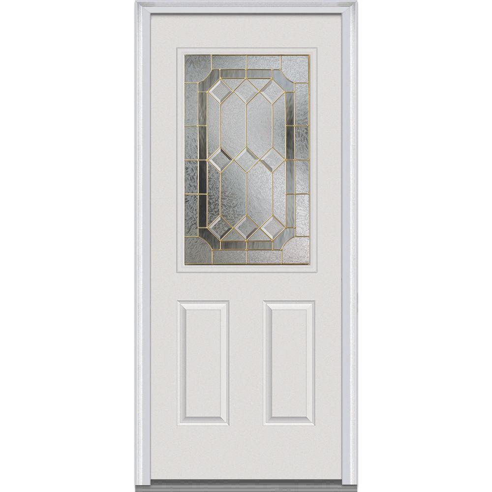 MMI Door 34 In. X 80 In. Majestic Elegance Right Hand 1/2 Lite 2 Panel  Classic Primed Fiberglass Smooth Prehung Front Door Z001283R   The Home  Depot