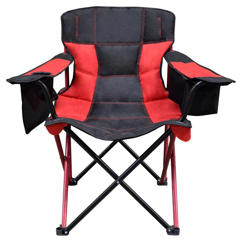 Caravan Sports Elite Quad Oversized Big Heavy Duty Camping Folding Chair Red