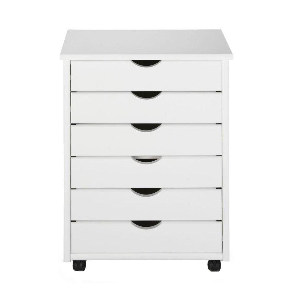 Home Decorators Collection Stanton 6-Drawers Wide Storage Cart in White