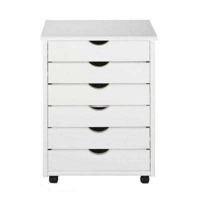 Stanton 6-Drawers Wide Storage Cart in White