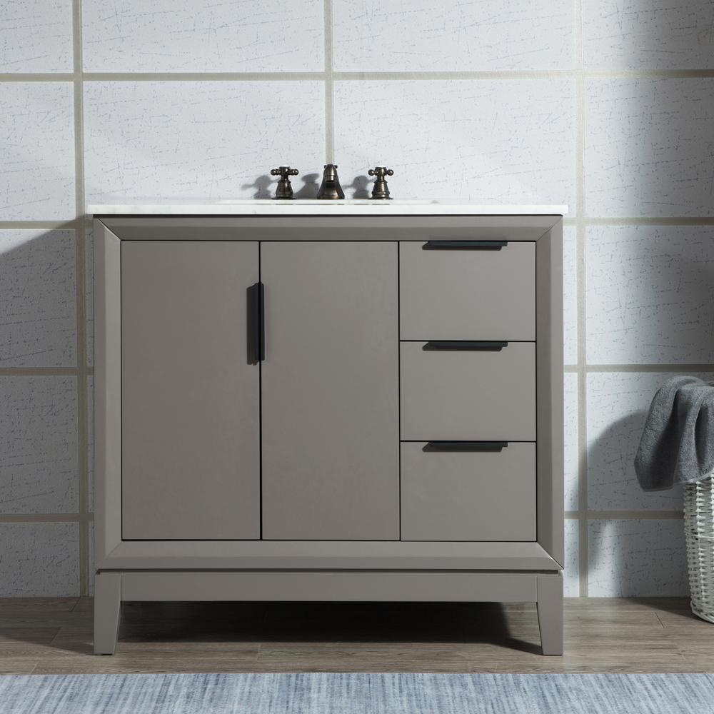 Water Creation Elizabeth Collection 36 in. Bath Vanity in Cashmere Grey With Vanity Top in Carrara White Marble - With Mirror(s)
