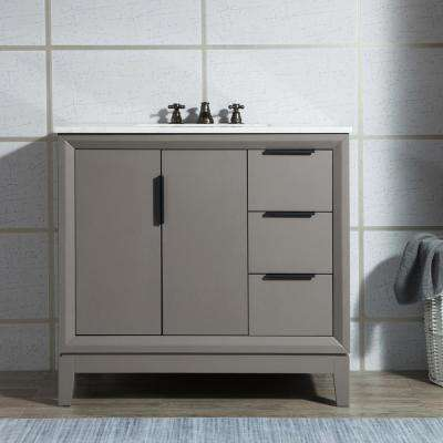 Elizabeth Collection 36 in. Bath Vanity in Cashmere Grey With Vanity Top in Carrara White Marble - With Mirror(s)