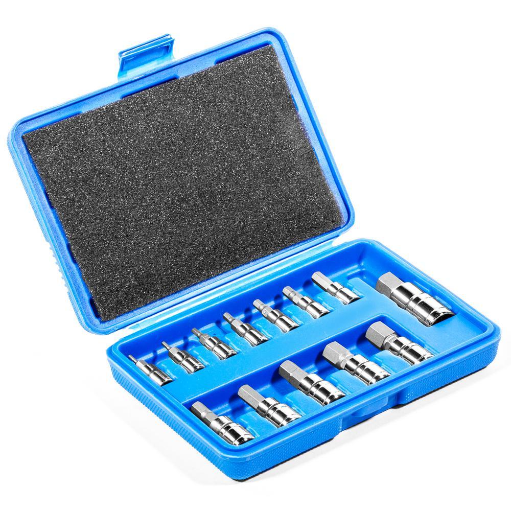 Stanley STMT71655 27-piece Professional Grade Black Chrome Hex Bit Socket Set 3//8 SAE MM