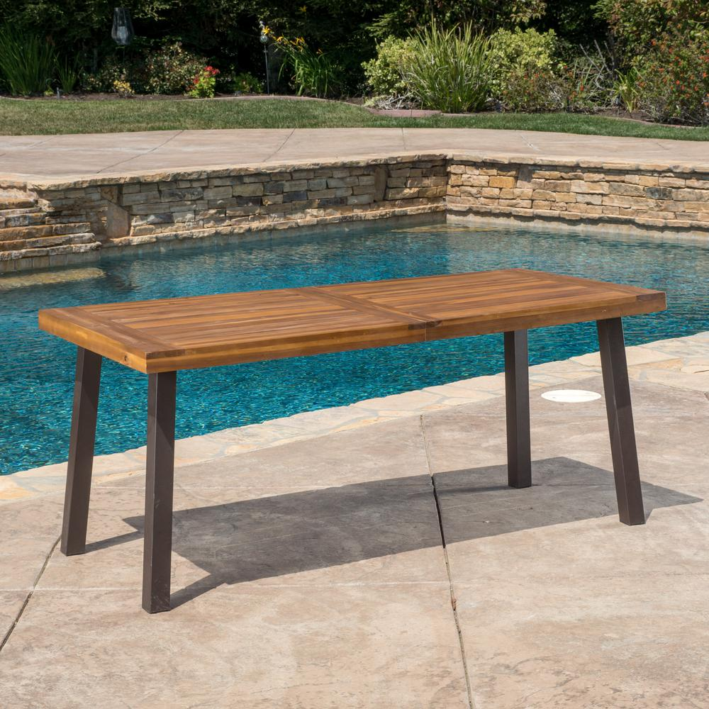 Outdoor Dining Table With Bench: Noble House DellaTeak Finish Rectangle Wood Outdoor Dining