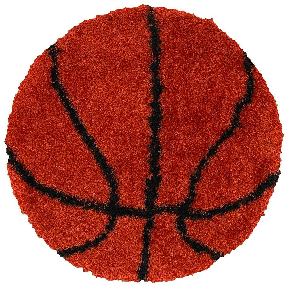 LR Resources Senses Shag Shapes Orange Basketball 4 ft. Shag Indoor Round Area Rug