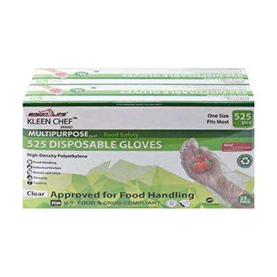1 Size Fits Most, Disposable Food Handling Long Cuff Poly Gloves (525/Box, 2-Pack)