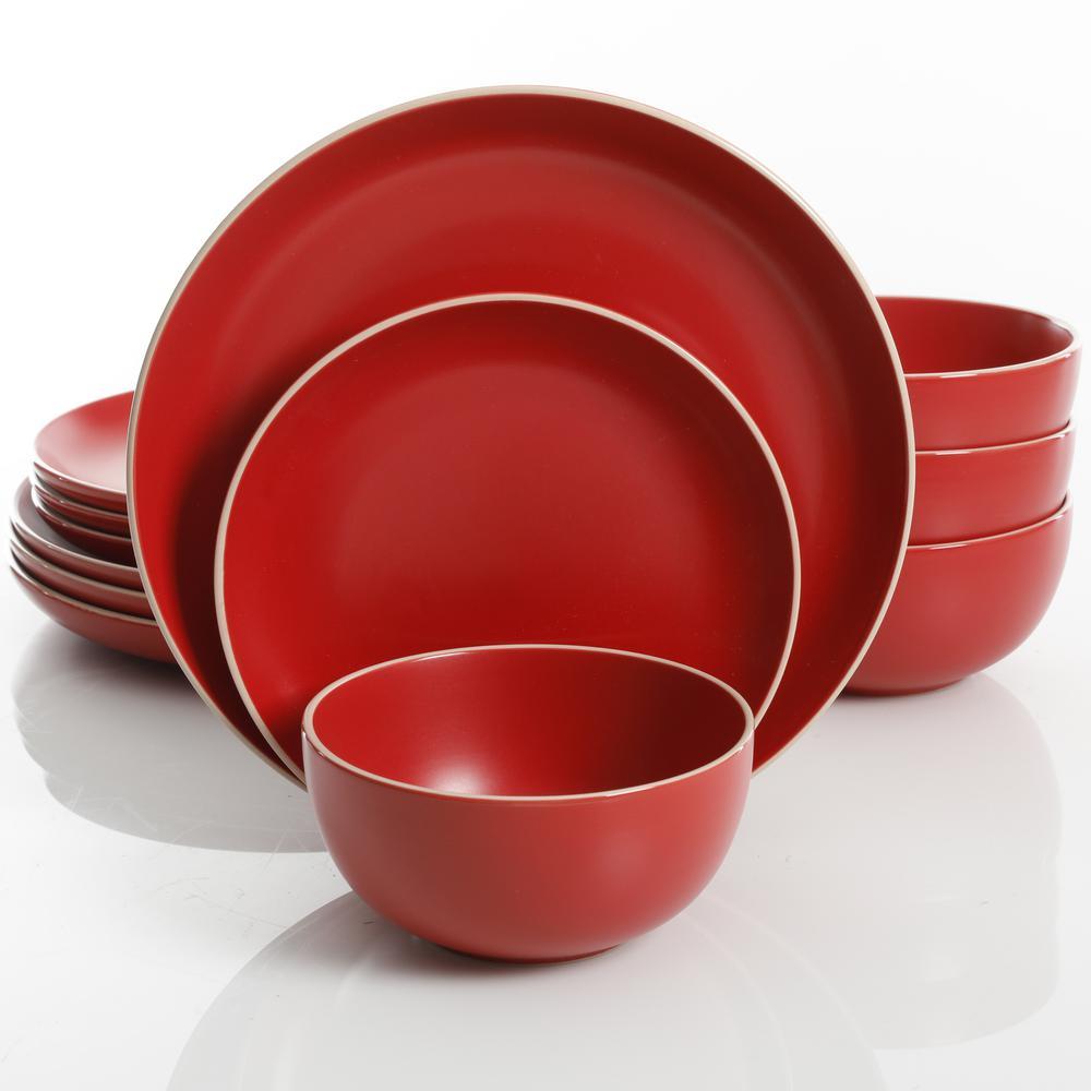 Gibson Home Rockaway 12-Piece Red Matte Glaze Dinnerware Set 107458.12RM