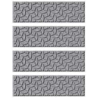 Medium Gray 8.5 in. x 30 in. Ellipse Stair Tread Cover (Set of 4)