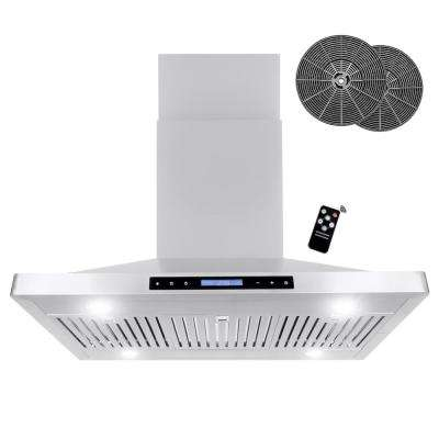 36 in. Ductless Island Range Hood with LED Lighting and Permanent Filters in Stainless Steel