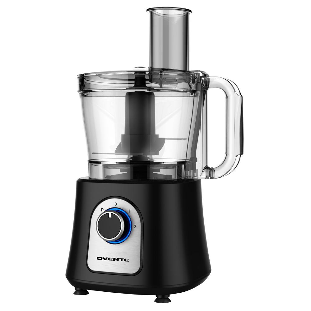 Deluxe 12-Cup Multi-Function Food Processor with Blender Chopper and Citrus Juicer, Black Features: 800-Watts of power: instantly preps food without too much sweat may it be dicing, mixing, slicing, shredding, kneading, chopping, crinkling, blending or pureeing its simple, easy, and powerful 12-cup work bowl capacity: the work bowl lets you prepare food in bigger portionsRotary Switch: mechanical rotary switch with 2 speed and pulse operation for a more consistent food prep with built-in blue LED indicator lightStainless steel slicer/shredder: reversible metal disk enables you to quickly slice vegetables or shred cheese without doing too much workFood chute with pusher: easily integrate food ingredients into the work bowl by adding into the food chute pusher guides the food towards the slicing/shredding disc All removable parts are dishwasher safe except for the food processor base. Color: Black.