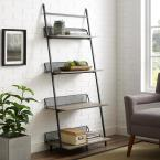 Grey Wash Industrial Metal and Wood Leaning Wall Shelf with 4 Shelves