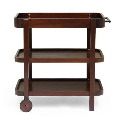 Pine Valley Mahogany Brown Acacia Wood Outdoor Patio Serving Cart