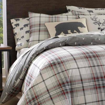 Alder Charcoal Plaid Duvet Cover Set