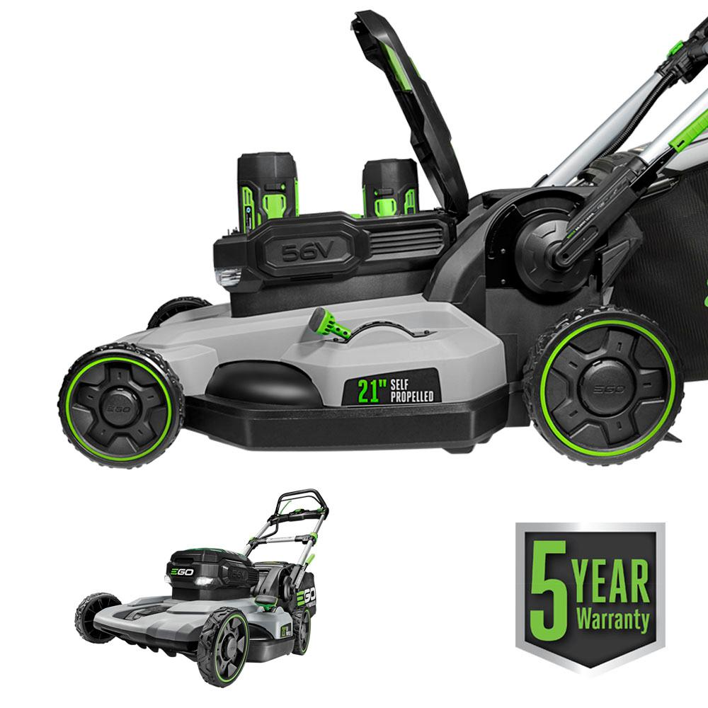 EGO 21 in. 56V Lithium-Ion Cordless Electric Dual-Port Walk Behind Self Propelled Mower, Two 5.0 Ah Batteries Included