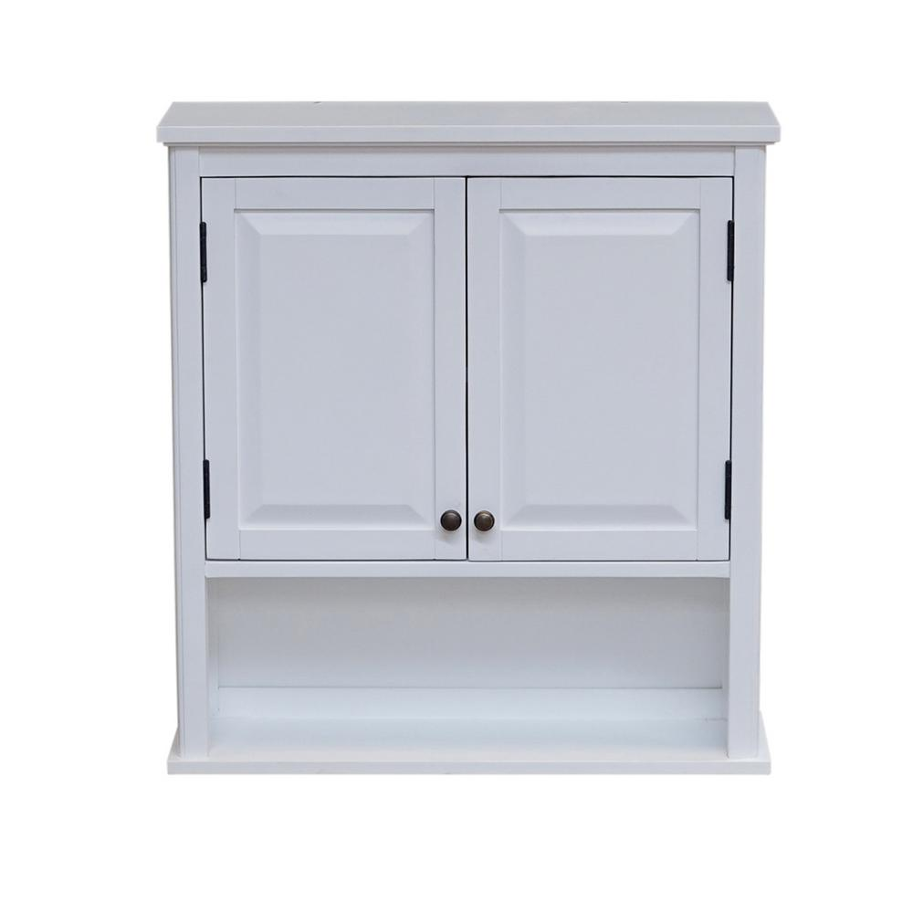 W Wall Mounted Bath Storage Cabinet With 2 Doors And Open Shelf In White