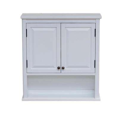 Dorset 27 in. W Wall Mounted Bath Storage Cabinet with 2 Doors and Open Shelf in White