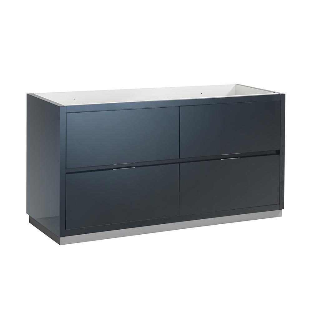 Valencia 60 in. W Bathroom Double Vanity Cabinet in Dark Slate Gray