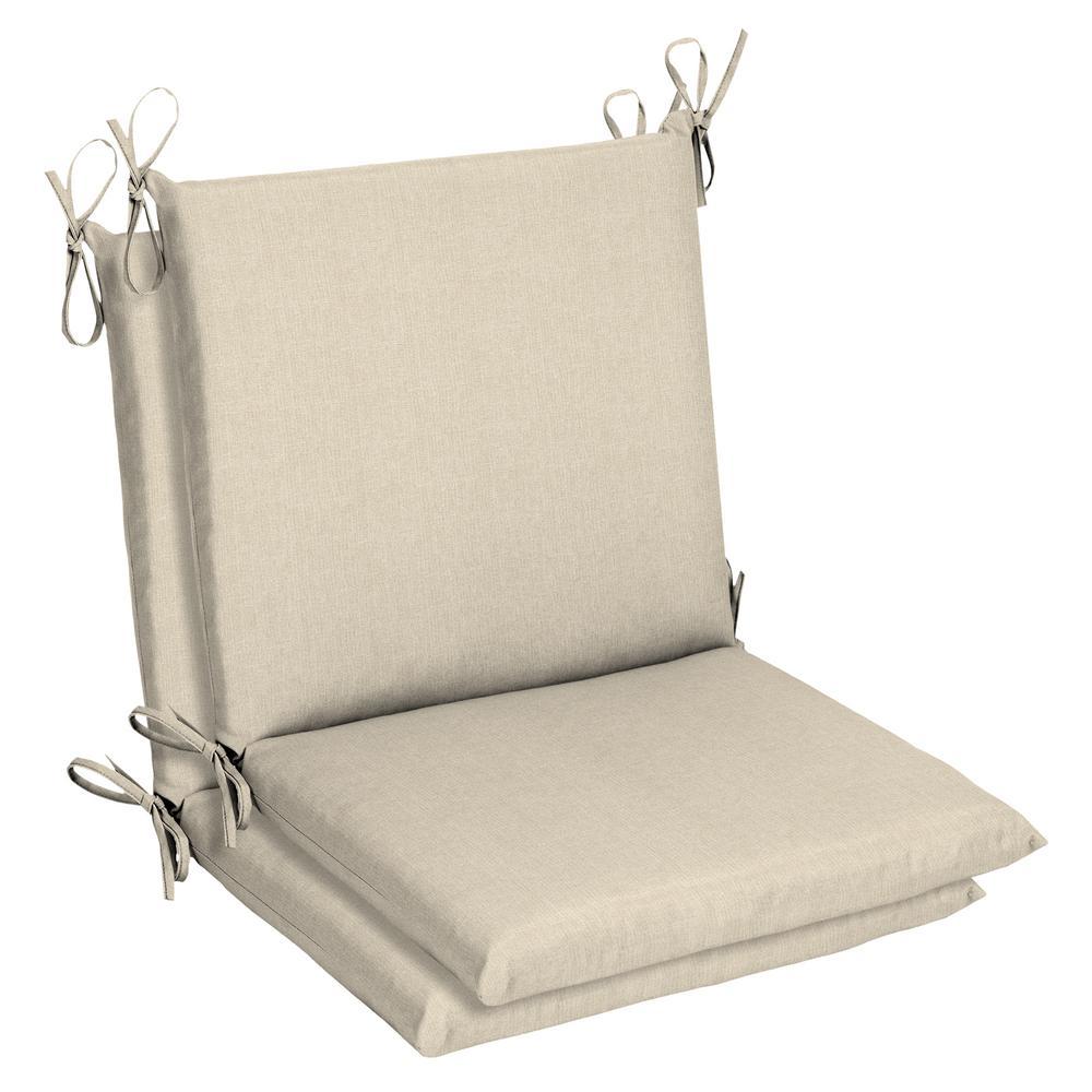 Belcourt 19 x 36 Sunbrella Canvas Flax Mid Back Outdoor Dining Chair Cushion (2-Pack)