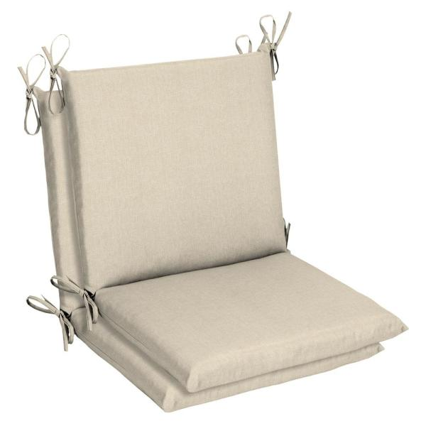 Belcourt 19 x 36 Sunbrella Canvas Flax Mid Back Outdoor Dining Chair Cushion (2-Pack)