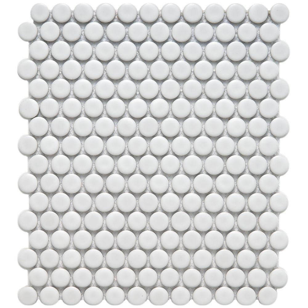 Merola Tile Metro Penny Matte White 9-3/4 in. x 11-1/2 in. x 6 mm Porcelain Mosaic Tile
