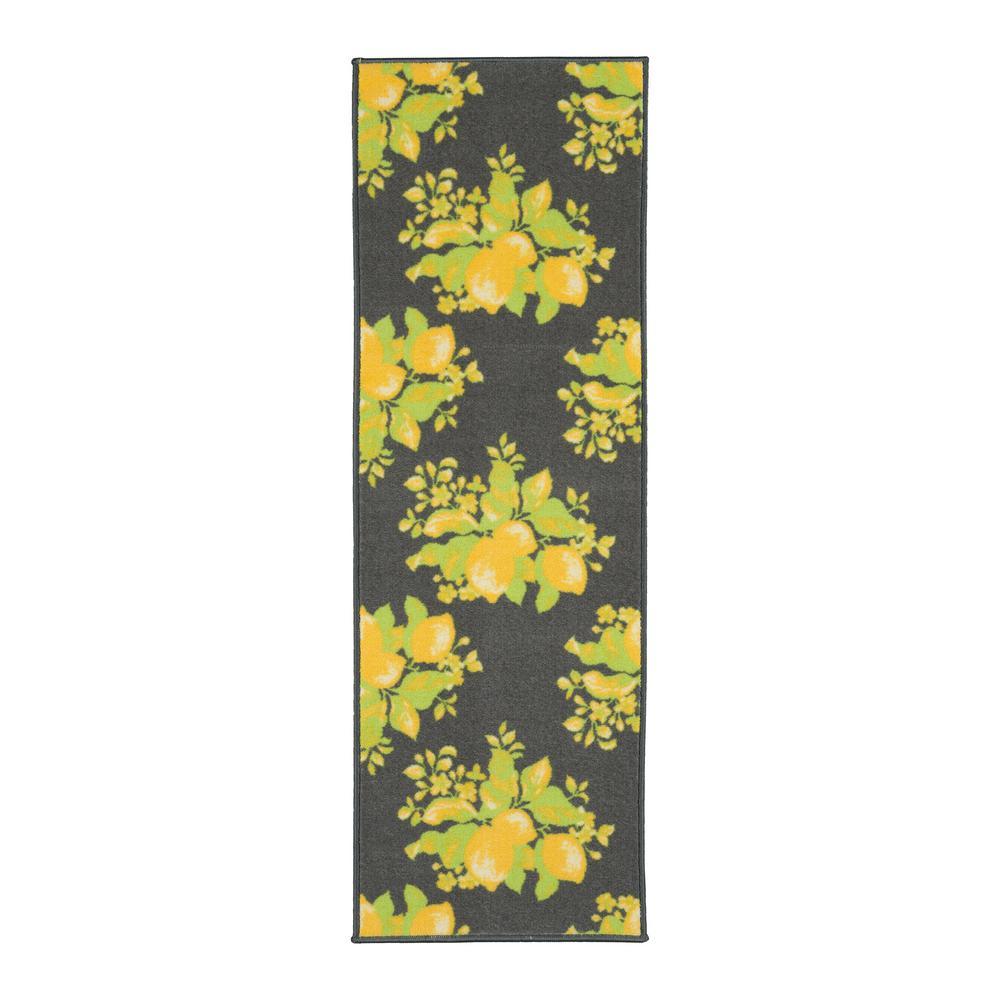 Lemon Collection Gray 1 ft. 8 in. x 4 ft. 11 in. Lemon Design Runner Rug