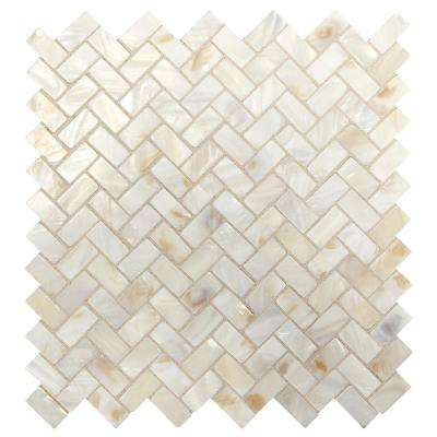 Premier Accents Pearl Herringbone 10 in. x 11 in. x 2 mm Stone Mosaic Tile