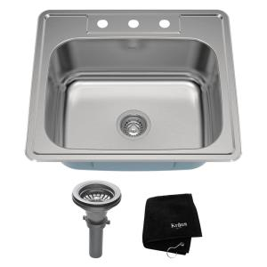 Kraus Drop-In Stainless Steel 25 inch 3-Hole Single Bowl Kitchen Sink Kit by KRAUS