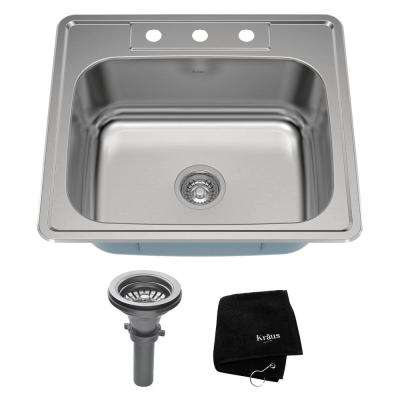 Drop-In Stainless Steel 25 in. 3-Hole Single Bowl Kitchen Sink Kit