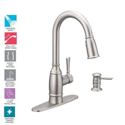 Noell Single-Handle Pull-Down Sprayer Kitchen Faucet with Reflex and Power Clean in Spot Resist Stainless