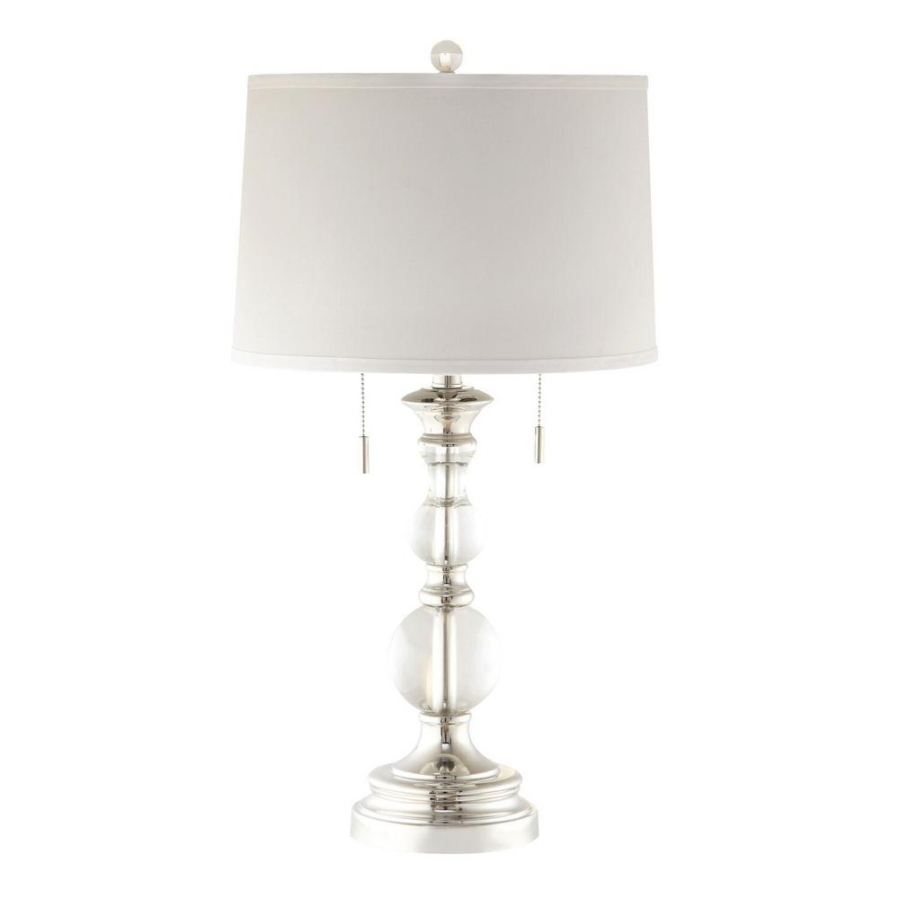 Nickel Silver White Crystal 2 Lite Table Lamp With Pull Chain