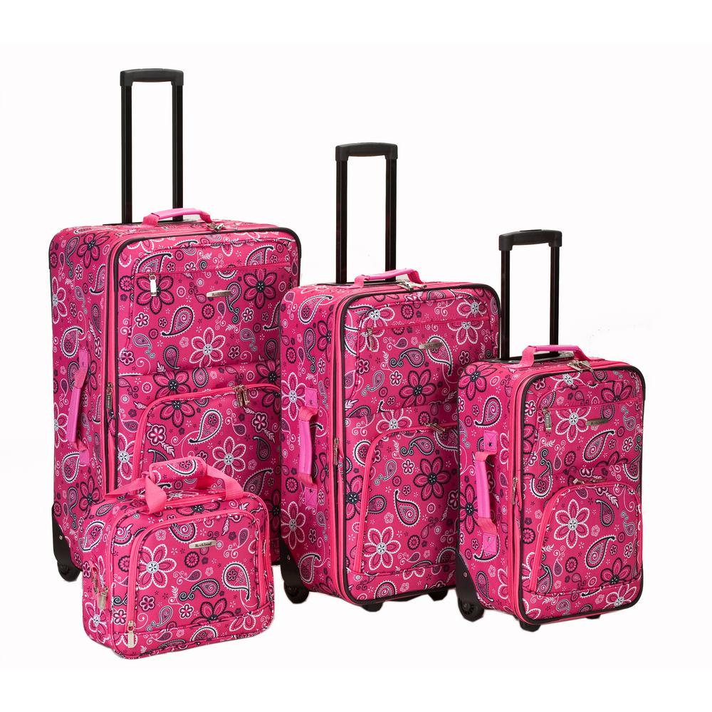 Rockland Beautiful Deluxe Expandable Luggage 4-Piece Softside Luggage Set, Pink Bandana, Pinkbandana was $239.0 now $143.4 (40.0% off)
