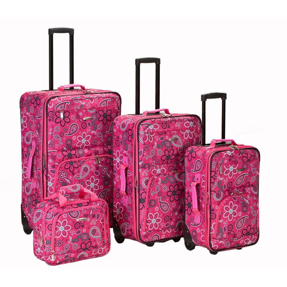 Rockland Beautiful Deluxe Expandable Luggage 4-Piece Softside Luggage Set, Pink Bandana