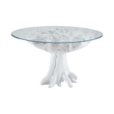 Gloss White Teak Root and Glass Entry Table
