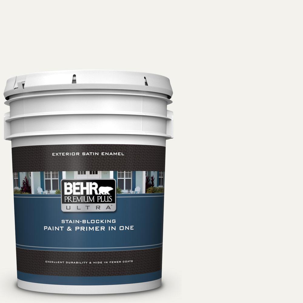 5 gal. Home Decorators Collection #HDC-MD-08 Whisper White Satin Enamel Exterior Paint & Primer