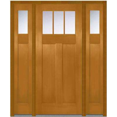 64 in. x 80 in. Clear Right-Hand Craftsman 1/4 Lite Classic Stained Fiberglass Fir Prehung Front Door with Sidelites