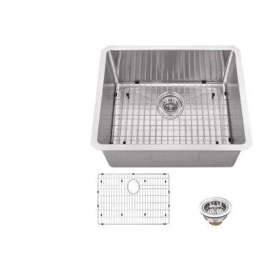 All-in-One Undermount Stainless Steel 23 in. 0-Hole Single Bowl Kitchen Sink