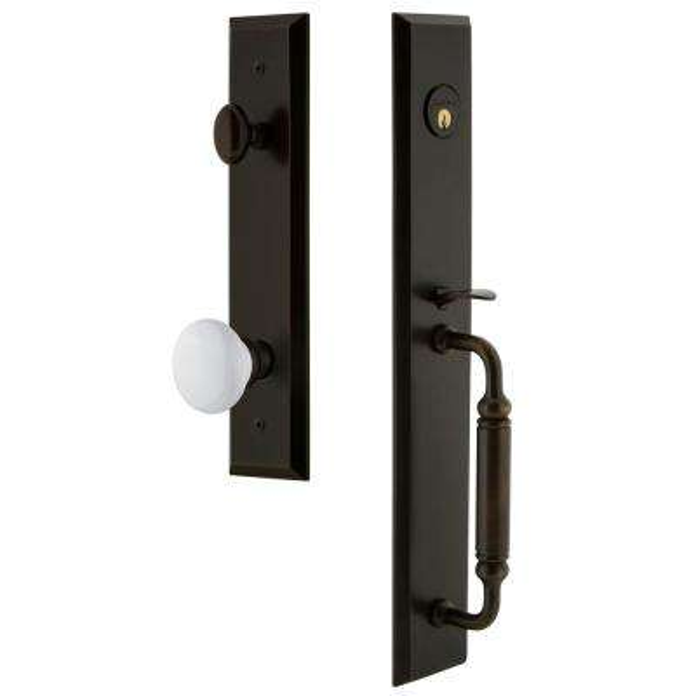 Fifth Avenue Timeless Bronze 1-Piece Dummy Door Handleset with C-Grip and Hyde Park Knob