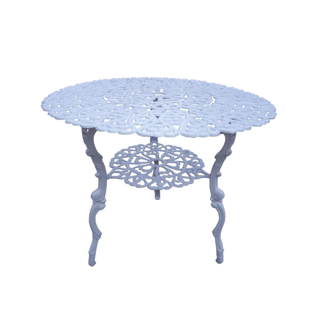 Scroll 32 in. Metal White Outdoor Bistro Table