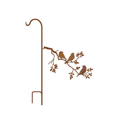 50 in. Tall Yellowish Brown Rust Steel Shepherd's Hook with Bluebirds Singing on Branch