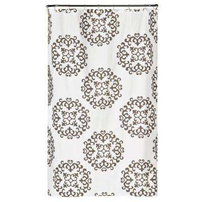 72 in. White Damask Fabric Shower Curtain